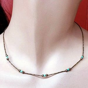 Vintage Sterling Silver Turquoise Minimal Necklace